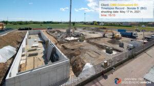 Timelapse photo video service at Record construction site in Bonate Sotto for CMB Costruzioni srl