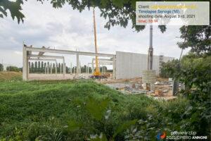 Timelapse photo video service at Legrenzi construction site in Senago for CMB Costruzioni srl